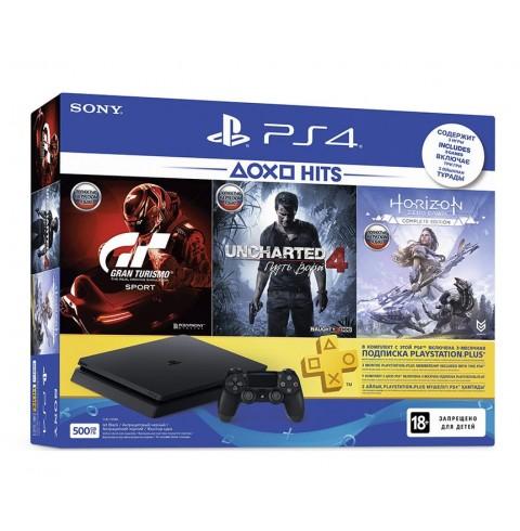 PlayStation 4 Slim 500 GB + 3 диска + подписка PS Plus 3 месяца