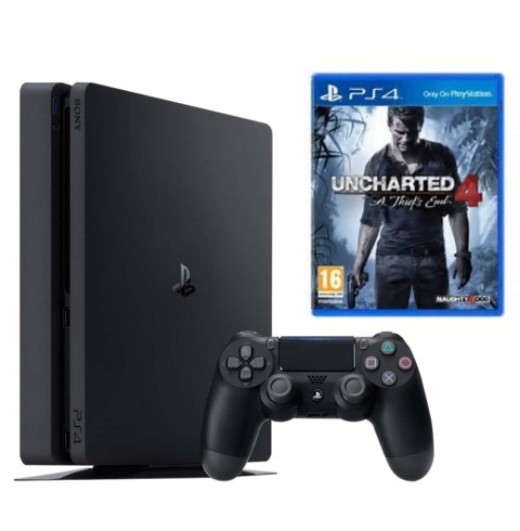 PlayStation 4 Slim 500 Gb + диск Uncharted 4: A Thief's End (Путь Вора)