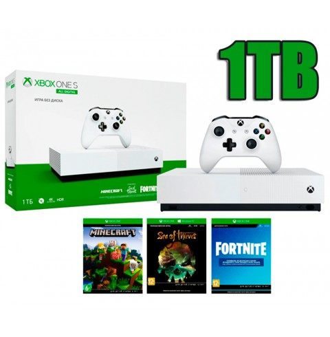 Xbox One S 1TB All Digital Edition + 3 игры