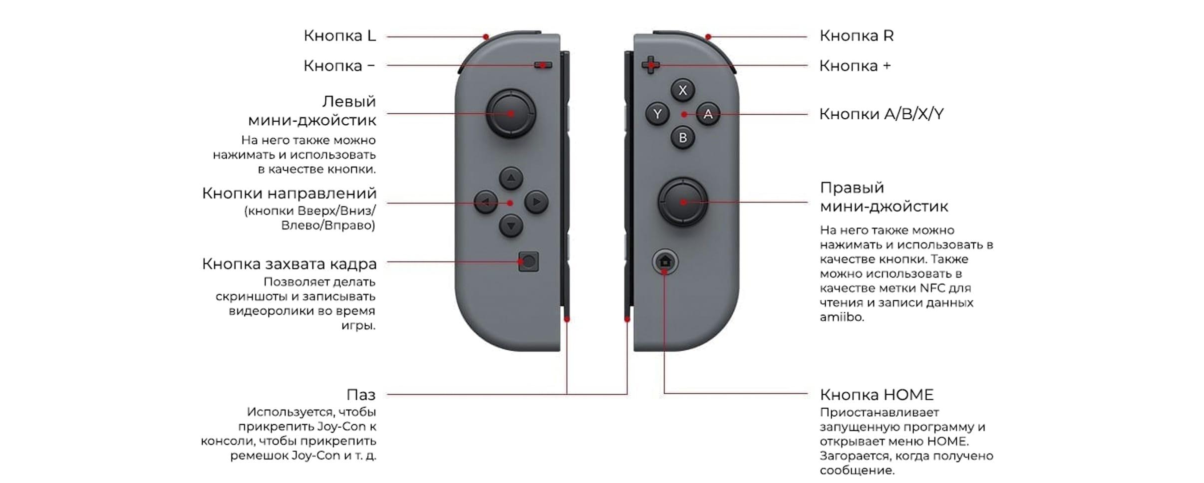 Контроллеры Nintendo Switch, вид спереди