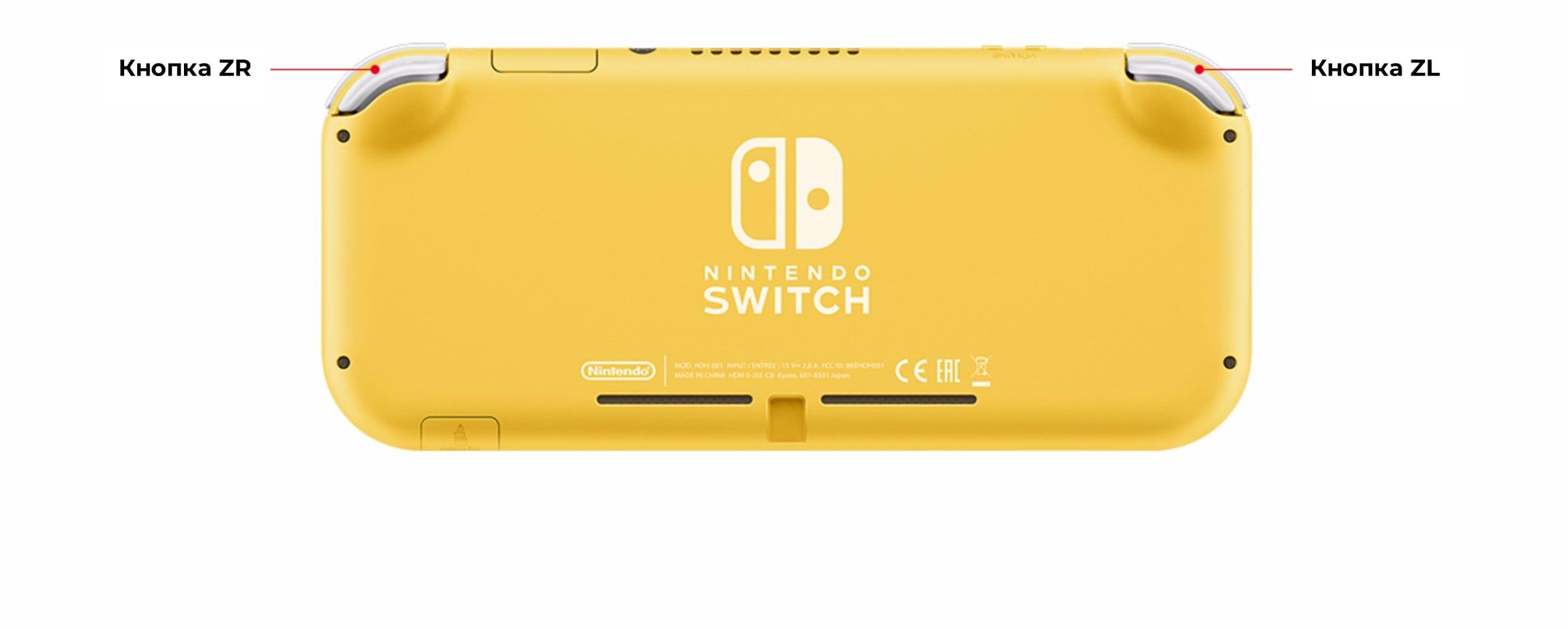 Nintendo Switch Lite, вид сзади