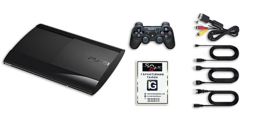консоль черного цвета PS3 SS