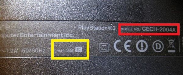 надписьDataCode, на дне консоли playstation